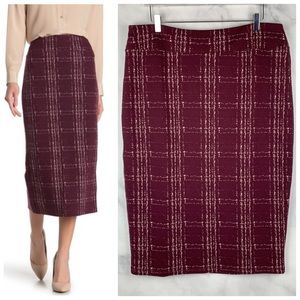 Nordstrom 14th &Union Plaid Knit Pencil Midi Skirt